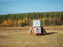 Target for archery. Made by hand. The target is in the field royalty free stock photo