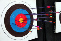 Target archery and Many arrow. Royalty Free Stock Images