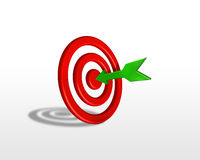 Target and arrow. Green 3d arrow hits the center of the target Stock Photo