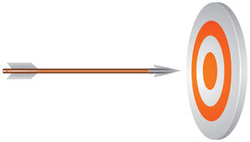 Target and arrow. In the perfect center vector image, Business Success Concept, bull's eye, sport symbol Stock Photo