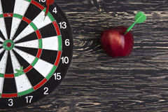 Target with arrow and apple Royalty Free Stock Photo