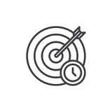 Target and arrow with clock line icon Royalty Free Stock Images
