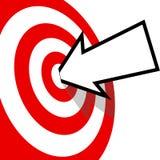On Target Arrow Copyspace Hits Bulls Eye. An arrow with your copyspace hits the bulls eye of a red target dead center vector illustration