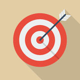 Target and arrow. Flat Icon With Long Shadow Royalty Free Stock Image