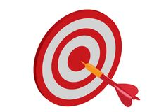 Target with arrow, Goal achieve concept. Vector illustration in white background stock images
