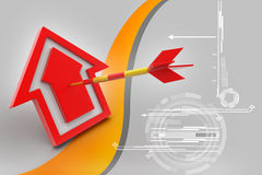Target arrow hit the home Stock Photo