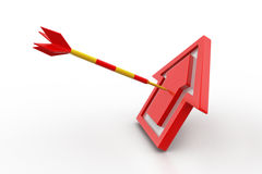 Target arrow hit the home. In white background Stock Photos