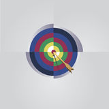 Target arrow. The arrow hit the top ten in the target Stock Photography