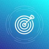 Target with arrow icon in linear style. Vector illustration Royalty Free Stock Photos