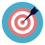 Target WIth Arrow Icon On Round Blue Background. Flat Vector Illustration Royalty Free Stock Images