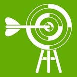 Target with an arrow icon green. Target with an arrow icon white isolated on green background. Vector illustration Royalty Free Stock Photos