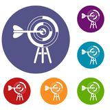 Target with an arrow icons set. In flat circle reb, blue and green color for web Royalty Free Stock Photo