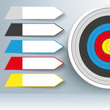 Target 5 Arrow Labels. Target with arrows on the gray background Stock Photo
