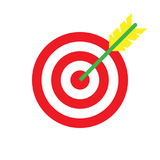 Target with an arrow long shadow flat icon isolated on white background. Vector illustration. Stock Photos