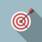 Target and arrow. Red and white target and arrow on gray background with long shadow. Flat style. Success, goal, aim, market concept. EPS 8 vector illustration Royalty Free Stock Photos