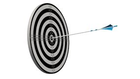 Target with a arrow - Target with a bow arros in the middle of the target isolated Royalty Free Stock Images