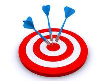 Target and arrows. Three arrows hit the middle of the dartboard (3d render Royalty Free Stock Images