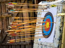 Target with arrows, archery competition for accuracy stock photography