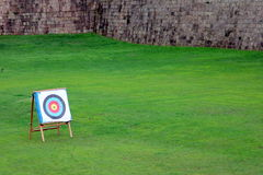 Target with arrows in it. Archery target with some arrows in it in green field Royalty Free Stock Image