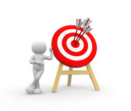 Target and arrows. 3d people - man, person with a target and arrows Royalty Free Stock Images