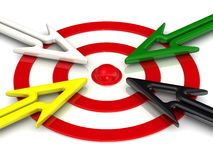 Target and arrows directed to the center Royalty Free Stock Photo