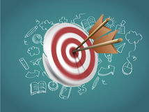 Target with Arrows and Doodles. On blackboard Royalty Free Stock Photos