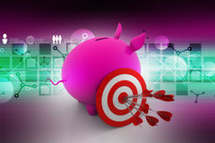 Target with arrows on piggy bank Stock Images