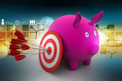 Target with arrows on piggy bank Stock Photo