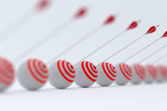 Target and arrows row. 3d render of target and arrows row with soft focus Stock Image