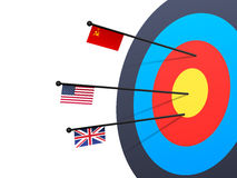 Target with Arrows for Sports concept. Creative illustration of a Target with Arrows showing Soviet Union, United States of America and Great Britain Flags for Stock Photo
