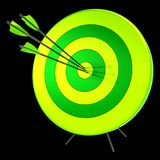 Target arrows success shooting accuracy hitting concept. Target arrows success shooting accuracy sniper hitting of bull`s eye lucky concept. 3d illustration vector illustration
