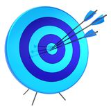 Target arrows success shooting accuracy sniper hitting concept. Target arrows success shooting accuracy sniper hitting of bulls eye lucky concept. 3d royalty free illustration