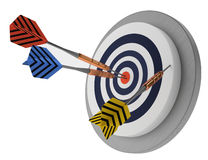 Target and arrows, successfull business, trying effort strategy market objective. One looser, two winners,  lucky target three arrows, marketing hit trying Royalty Free Stock Images