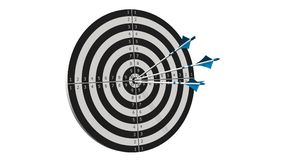 Target with arrows - Target with three bow arrows in the middle of the target isolated on white Royalty Free Stock Photos