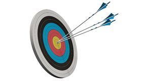 Target with arrows - Target with three bow arrows in the middle of the target isolated on white Royalty Free Stock Photography