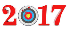 2017 Target. A target with arrows and year 2017 on the white Stock Photo