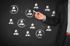 Target audience and market segmentation. Target audience, market segmentation, customers care, customer relationship management CRM and team building concepts stock image