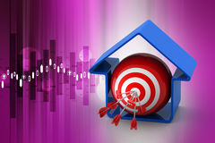 Target ball with arrows in home model Stock Image