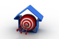 Target ball with arrows in home model Stock Photos