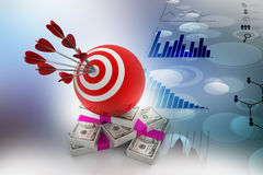 Target ball hit arrows with currency note. In color background Royalty Free Stock Image
