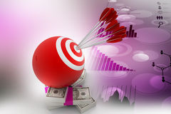 Target ball hit arrows with currency note. In color background Royalty Free Stock Images