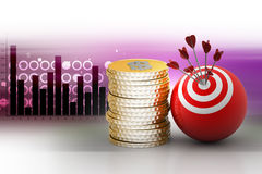 Target ball hit arrows with gold coins Stock Image