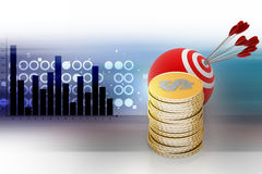 Target ball hit arrows with gold coins Stock Photo