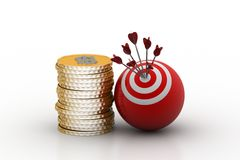 Target ball hit arrows with gold coins Royalty Free Stock Images