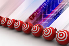 Target balls with arrows in a row Royalty Free Stock Images
