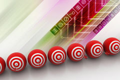 Target balls with arrows in a row Royalty Free Stock Photography
