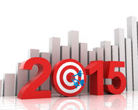 2015 target with bar chart background. 2015 target with rising bar chart background Royalty Free Stock Images
