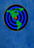 Target on blue. Map of noth america on target on blue wall Royalty Free Stock Photo