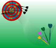 Target board. Abstract green background with colored target board and small arrows Stock Photography
