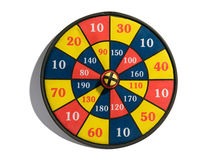 Target board with a bullseye. Conceptual image of a colourful target board with a central bullseye for success, victory and achievement on a white background Stock Photos